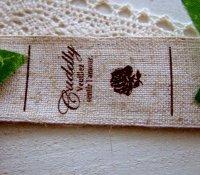 【HAPPY!】[卸・受注生産]25mm幅/リネン・スクリプトCuddly薔薇(折縦両用)1巻(30m)