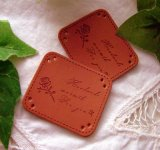 合成皮革タグ縫いつけ用2枚セット♪(薔薇)【数量限定】