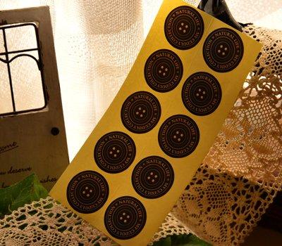 画像1: 【ASHIATOYA Original】オリジナル円形ボタン柄シール(ブラック)