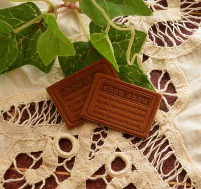 画像1: [24×34]革・枠文字chouchou(チョコ茶)